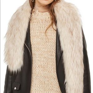Topshop Faux Fur Stole - tan- one size - NWT